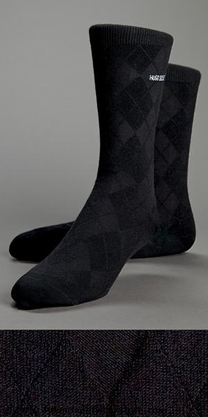 HUGO BOSS Tonal Diamond Pattern Sock with Logo