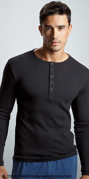 HUGO BOSS Ribbed Henley with Stretch