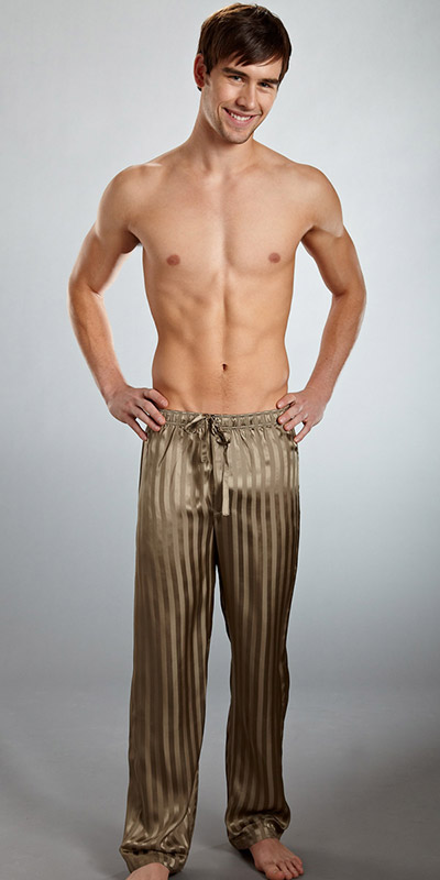 ManSilk Silk Striped Jacquard Lounge Pants