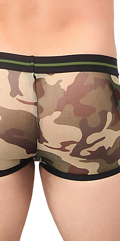 Male Power Sheer Camo Mini Short