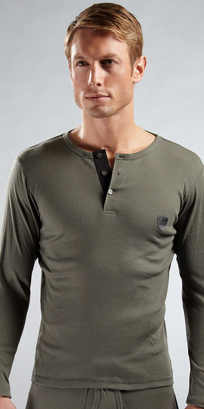 Emporio Armani Ribbed Cotton Long Sleeve Henley