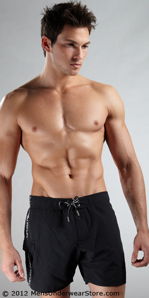Emporio Armani Loose Swim Trunk With Logo Tape