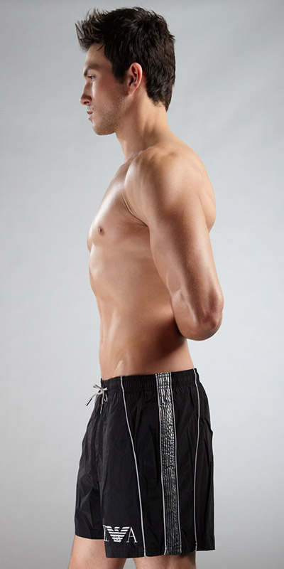 Emporio Armani Loose Swim Trunk With Stripes