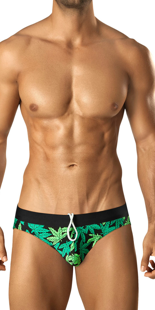 Vuthy Leaf Print Swim Bikini-Brief