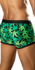 Vuthy Green Leaf Print Swim Trunk