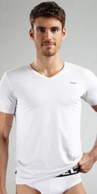 Diesel Cotton Modal Michael Short Sleeve V-Neck