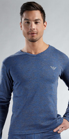 Emporio Armani Micro Cotton Burnout Long Sleeve V-Neck