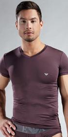 Emporio Armani Microfiber Stretch Basic Short Sleeve V-Neck