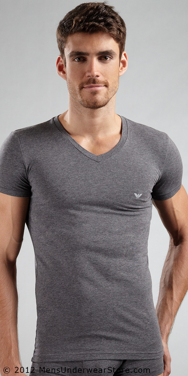 Emporio Armani Cotton Stretch Basic Short Sleeve V-Neck