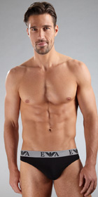Emporio Armani Embossed Stretch Cotton Thong