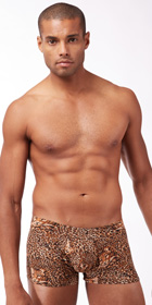 Male Power Leopard Squarecut Brief