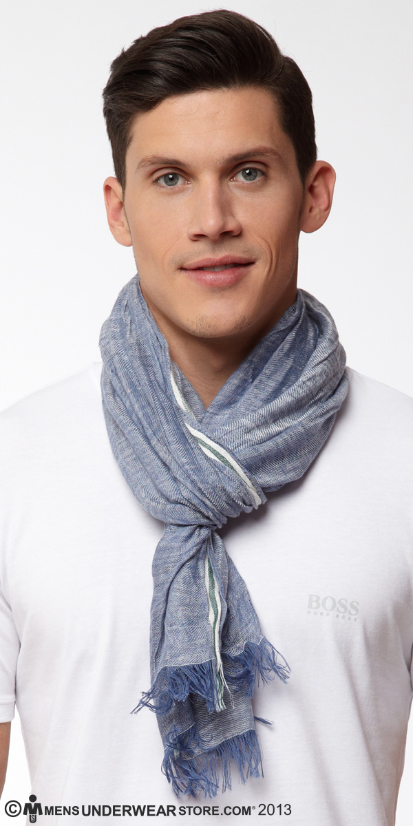 HUGO BOSS Striped Linen Blend Scarf