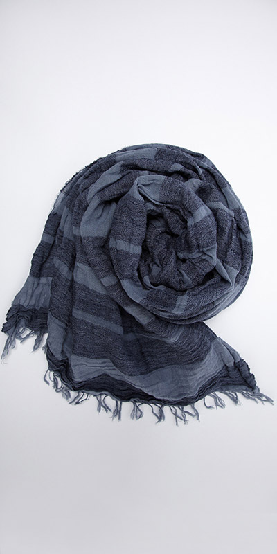 HUGO BOSS Striped Linen Two Tone Scarf