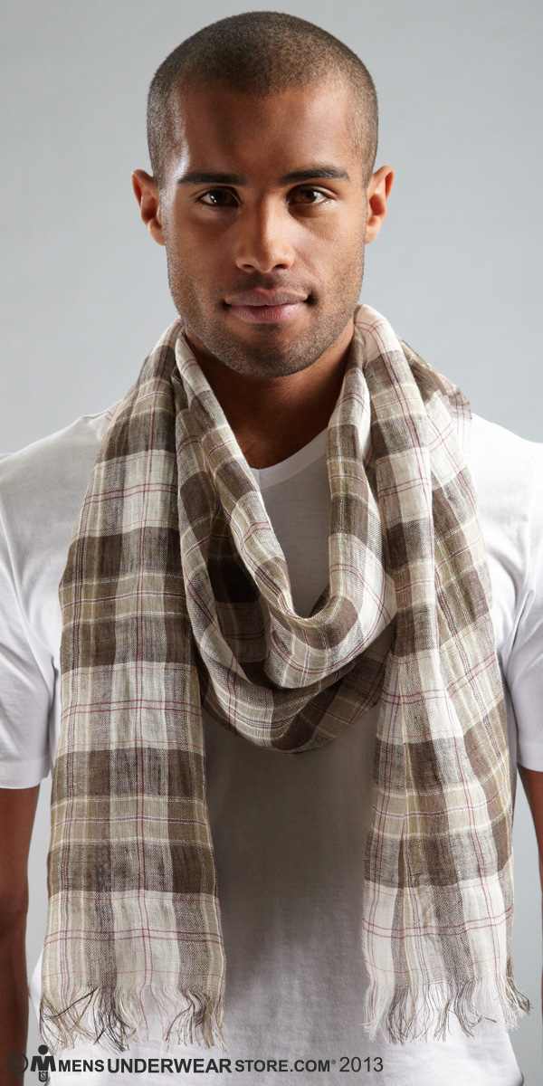 HUGO BOSS Checked Cotton Blend Scarf