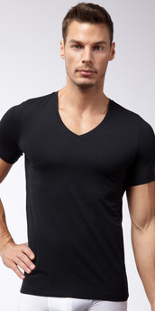 Hanro Cotton Superior Short Sleeve V-Neck Shirt