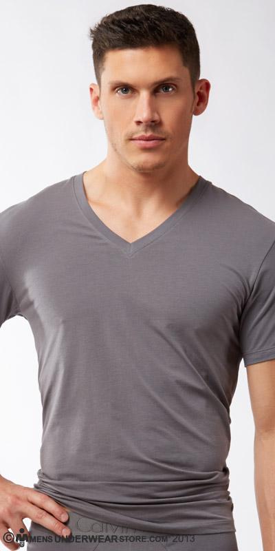 Calvin Klein Black Cotton V-Neck Shirt