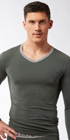 Emporio Armani Color Stretch Cotton Long Sleeve Shirt