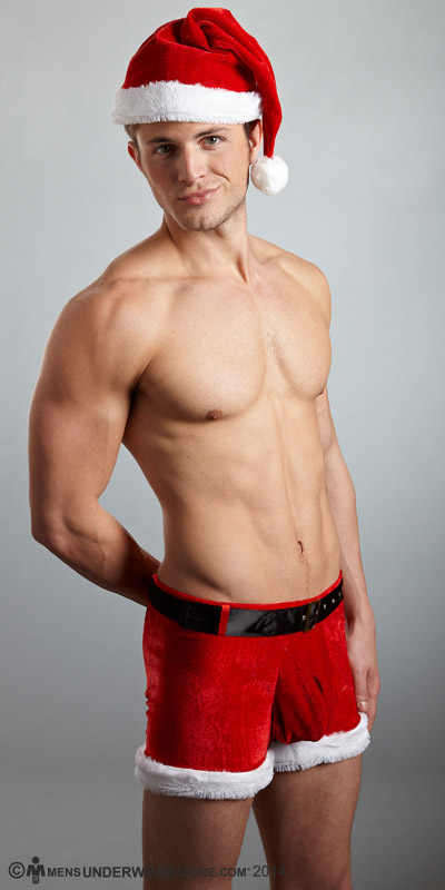 Male Power Sexy Santa Short and Hat