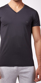 Emporio Armani Yarn Dyed V-Neck Shirt