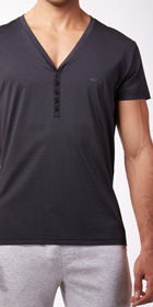 Emporio Armani Yarn Dyed Button V-Neck Shirt